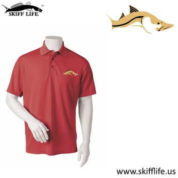Skiff Life Maroon Polo Fishing Shirt embroidered with Gold Snook
