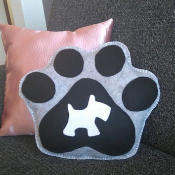 Decor Cushion Dog footprint felt cushion, Decorative pillow pet, Mexican felt Hand sewn, shadow profile cartoon, Cat, Pet bed, Dog's bed