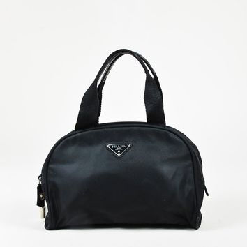 Prada Black Shoulder Nylon Leather Trim Double Handle Bag