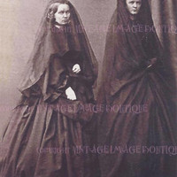 Lovely Antique Victorian Mourning Portrait Of Two Woman In Mourning Attire And Veils 5x7 Greeting Card