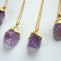Gold Dipped Chunky Stone Neсklace Rough Amethyst Raw Crystal Pendant Rough Big Purple Stone Purple Necklace Pendant Boho Amethyst Jewelry