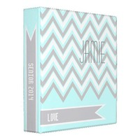 Modern chevron zigzag grey, light blue recipe vinyl binder from Zazzle.com