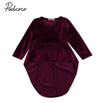 Velvet Baby Dresses Infant Baby Girls Long Sleeve Retro Dress Princess Asymmetrical Dresses Clothes Autumn Winter 0-3Y
