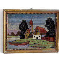 Vintage landscape. Embroidery wall art. Framed embroidery. Vintage needlepoint. Framed cross stitch. Cross stitch wall art. Wood frame.