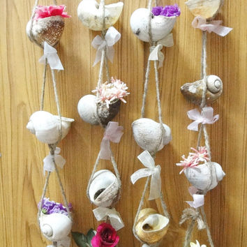 "Long Seashells Hanging Planter Hanger for Potted Plants or Flower Vase 23"" for Indoor and Outdoor Decor Including Wedding Decor"