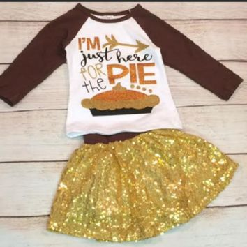Just Here For The Pie Sequin Skirt Outfit