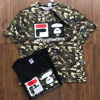 FILA & AAPE Joint Series Counter Tide Brand Casual Short Sleeve T-Shirt F-XMCP-YC