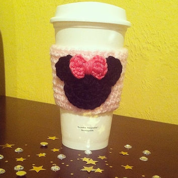Crochet Minnie Mouse Inspired Coffee Cozy
