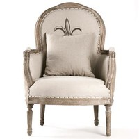 Tournon French Country Fleur de Lis Burlap Linen Club Chair