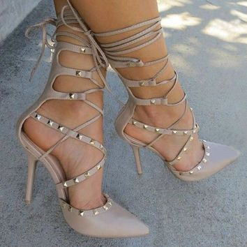 Straps Lace Up Rivets High Heels Sandals