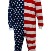 American Flag Footie Pajama With Hood