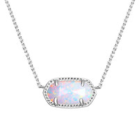 Kendra Scott: Elisa Silver Pendant Necklace In White Kyocera Opal