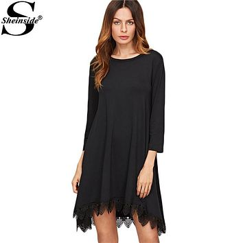 Sheinside Casual Dress for Women Spring Short Dress Black  Three Quarter Length Sleeve Lace Trim High Low Swing Dress