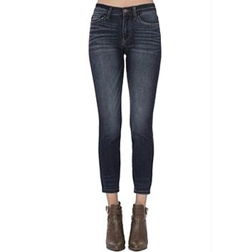 Judy Blue - Dark Blue Denim Hand Sanded Relaxed Mid-Rise Jeans