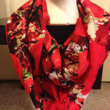 Handmade Floral Infinity Scarf-Valentine's Day Women's Scarf