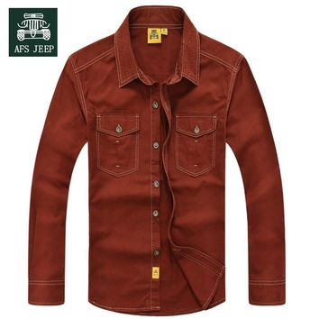 2016 Autumn new jeep genuine male cotton shirt fashion casual shirt tide size s-5xl