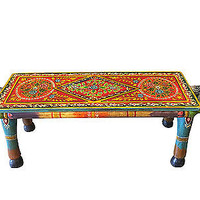 Hand Carved Wood Table Horse Head Painted Jaipur India Coffee Table Unique Decor