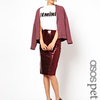 ASOS PETITE Exclusive Pencil Skirt in Metallic Leather - Oxblood