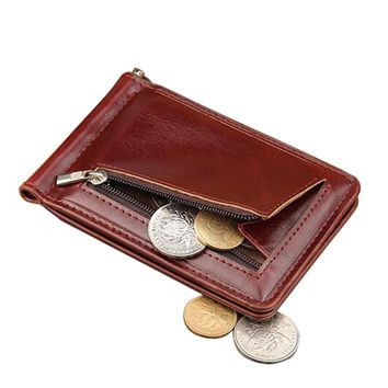 High Quality Leather Men Wallet Money Clips Stainless Steel Clamp Holder Cash Money Clip Small Zipper Coin Pocket Wallet For Men