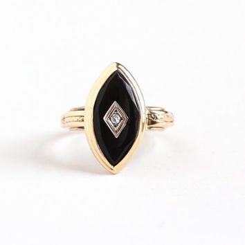 Vintage 10k Rosy Yellow Gold Black Onyx & Diamond Ring - 1940s Size 6 Dark Marquise Navette Gem Statement Fine Jewelry