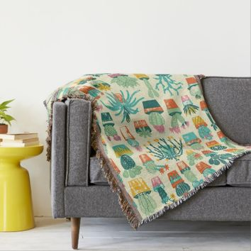 Colorful Cactus Flower Pattern Throw Blanket
