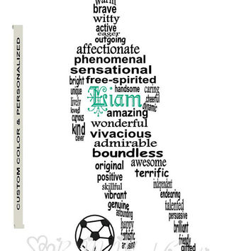 Personalized Boy Soccer Football Player Art, Unique Handmade Word Art Typography, Soccer Player Word Art, PRINTABLE DIGITAL FILE