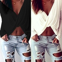Womens Deep V-neck Cross Twisted Blouse Long Sleeve Crop Tops Casual Tee Shirts