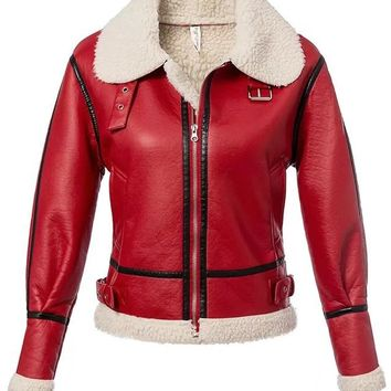 Red Faux Shearling Lining Jacket