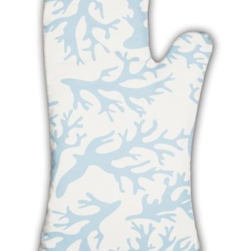 Oven Mitt, Coral Pattern On Beige In Vintage Style Blue Coral Reef Illustration