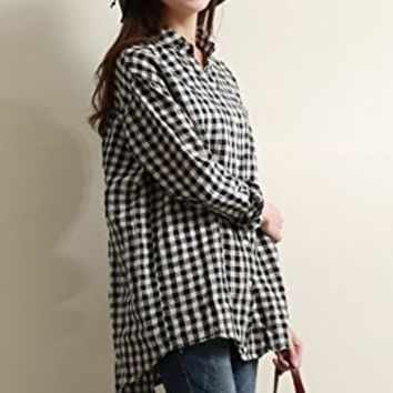 Women's Linen T-Shirt Tops Blouses Long Sleeve Casual Loose Fitting White And Black Square