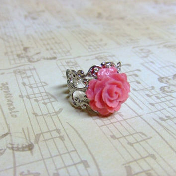 Pink Blush Rose Silver Filigree Ring by craftmepretty on Etsy