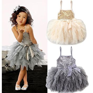 2017 New Sequins Kids Girls Lace Tulle Bowknot Tutu Dress Sleeveless Princess Girl Party Dresses Children Clothes 2-7 Years