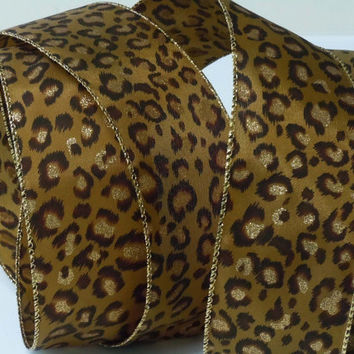 wired Gold Tan Brown Jaguar Leopard Cheetah Animal Prints Wedding Shower Wreaths Make Decoration Scrapbooking Party Arts Bow ribbon 2.5""