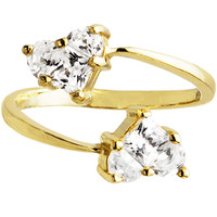 Solid 14K Yellow Gold Cubic Zirconia Solitaire Heart Toe Ring | Body Candy Body Jewelry