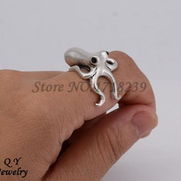 Fei Ye Paws Drop Ship 3D Octopus Ring Gothic Deep Sea Squid  Anel Bague Fashion Jewelry Big Rings For Women Best Gift Kpop