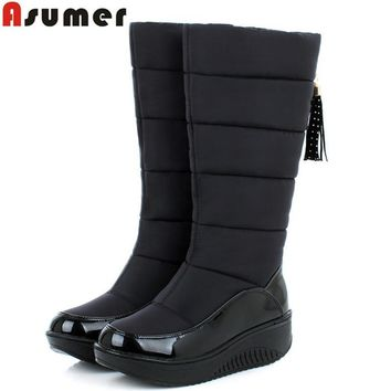 ASUMER 2016 new winter warm snow boots fashion platform fur cotton shoes flat heels knee high boots women pu leather boots