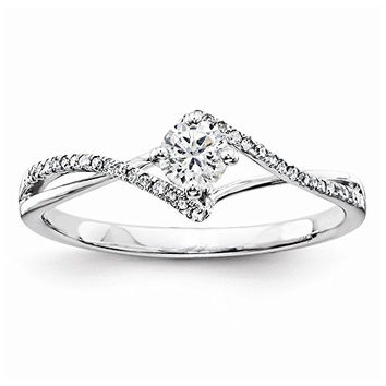 14k White Gold Diamond Semi-Mounting Engagement Ring, No Center Stone Included