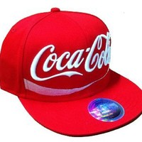 Coca Cola Snapback Hat Cap Red Flat Bill