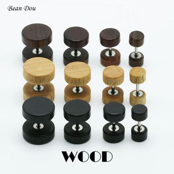 1pair Fashion Wooden Ear Studs Earrings Natural Brown Black 6mm 8mm 10mm 12mm Punk Barbell Fake Ear Plugs Brincos For Men Women