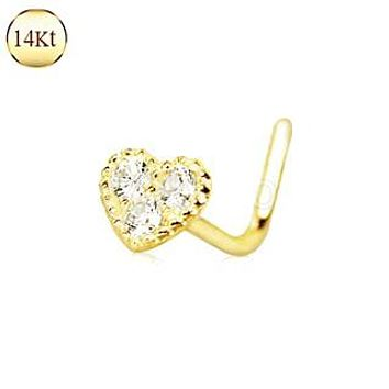 14Kt Yellow Gold Clear CZ Heart L Bend Nose Ring