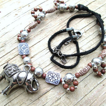 Indian Elephant Necklace - Indian Jewelry - Bohemian Jewelry - Boho Necklace - Tibetan Elephant Charm - Zen Jewelry - Gift for grad