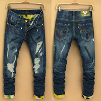 Winter Ripped Holes Rinsed Denim Men Pants Jeans [6528598595]