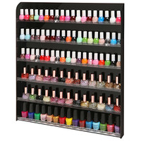 (102 Bottles) Black Acrylic 6 Shelf Wall Mounted Salon Style Nail Polish Rack Storage Organizer Display