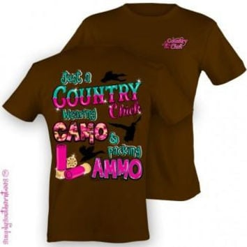 Simply Southern Funny Camo & Ammo Country Girlie Bright T Shirt
