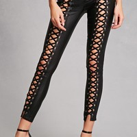 Faux Leather Strappy Pants