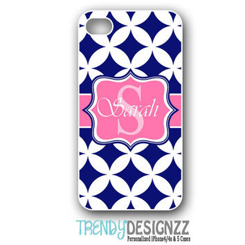 Personalized iPhone case, Samsung S3 S4, Monogram iPhone 4 case, iPhone 5 case, iPhone 4s, Navy Blue Pink Monogram case, Tough Cover (1229)