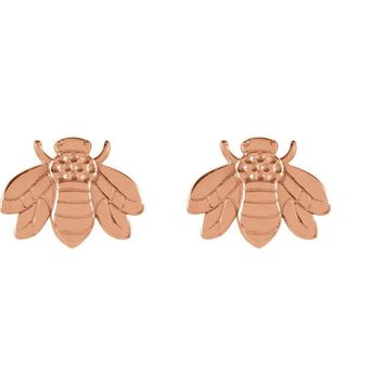 14K White Rose Yellow Gold Decorative Bumblebee Stud Earrings