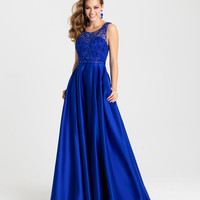 Madison James 16-307 In Stock Royal Size 8 Sequin Satin Prom Dress Evening Gown
