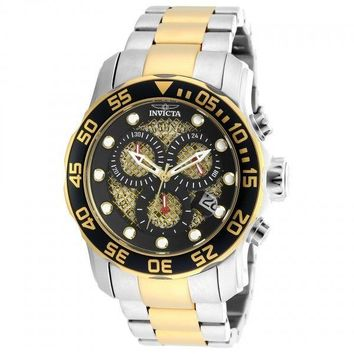 Invicta Pro Diver Chronograph Black and Gold Dial Two-tone Mens Watch 19839