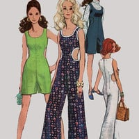Vintage 1960s Mod Squad Emma Peel Jumpsuit Romper with Side Cut Outs Sewing Pattern Simplicity 8244 60s era Pattern Size 10 Bust 32.5